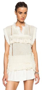 Isabel Marant Knit Fringe Sleeveless Top Ivory