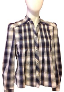 Isabel Marant Plaid Button Down Shirt Blue