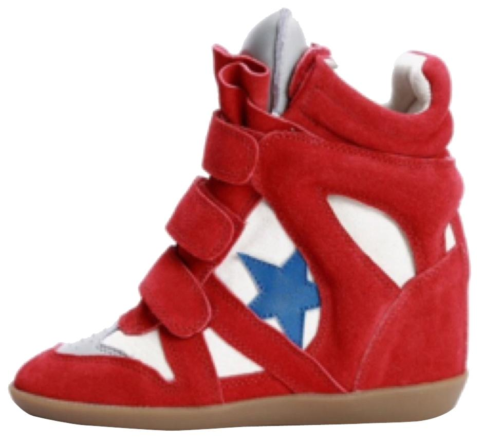 Isabel Marant Red Cream and Royal Blue Sneakers Size US 7 Regular (M, B)