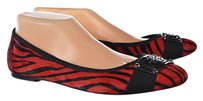Isola Womens Red Black Ballet 9m Cowhide Multi-Color Flats