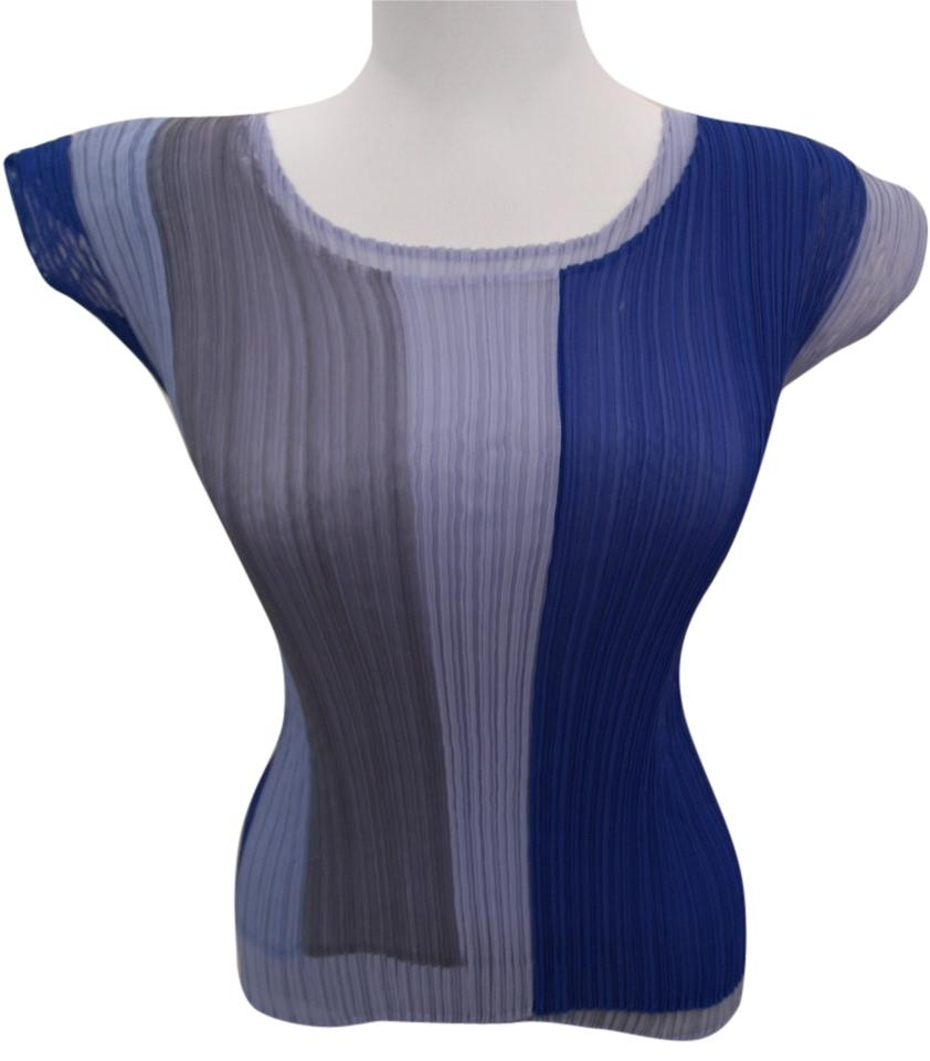 issey miyake top blue grey and white