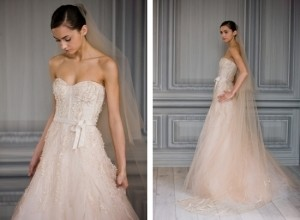 Monique Lhuillier Candy - Blush Color Wedding Dress