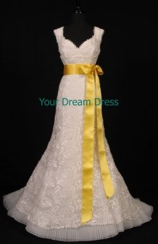 Lemon Double Faced Satin Ribbon Sash