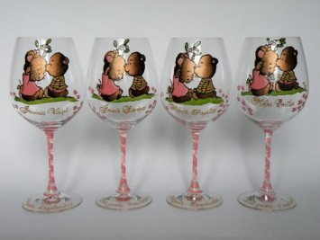 Hand Painted Set Of 2 Wine Glasses We