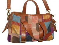 Fossil Leather Suede Bag - Satchel in patchwork