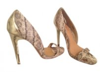 Badgley Mischka Gold & Snake Skin Sandals