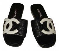 Chanel black with white cc logo Sandals