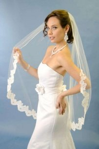 White Ansonia Bridal Lace Wedding Veil