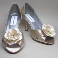 Champagne Peeptoes With Romatic And Wedding Shoes