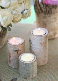 Birch Bark Log Tea Light Cande