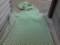 Chevron Green White Burlap