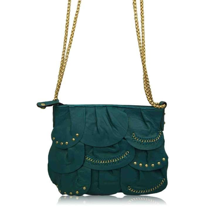 Hype Judith Medium Teal Leather Flap Crossbody Chain Strap Shoulder ...
