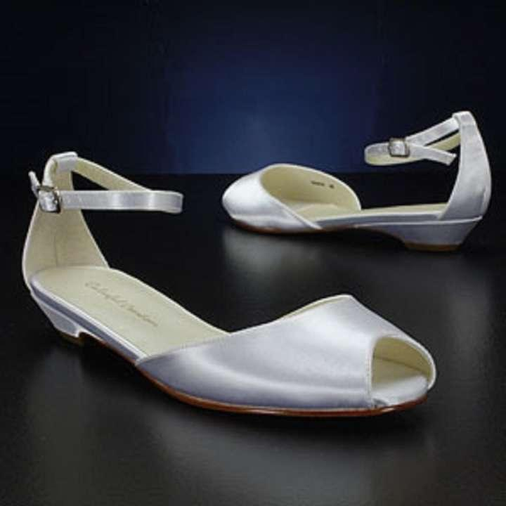 Colorful Creations Flat Peep Toe White Dyeable Satin Low