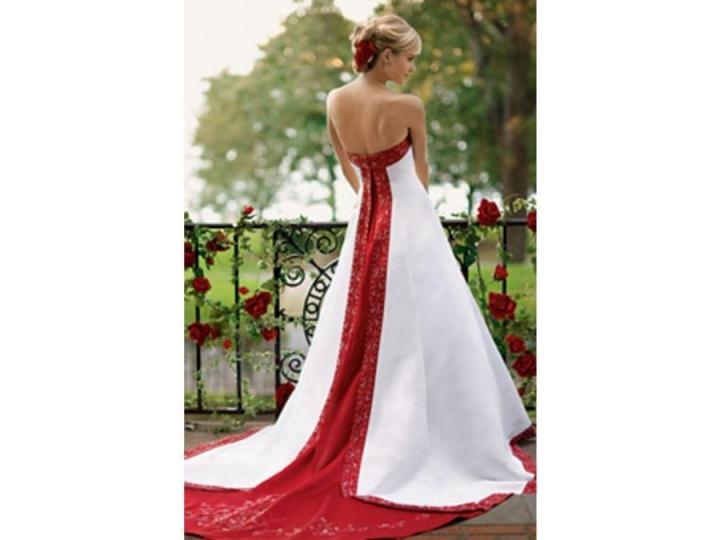 Red And White Wedding Dress Buy : David s bridal apple red and white wedding gown by