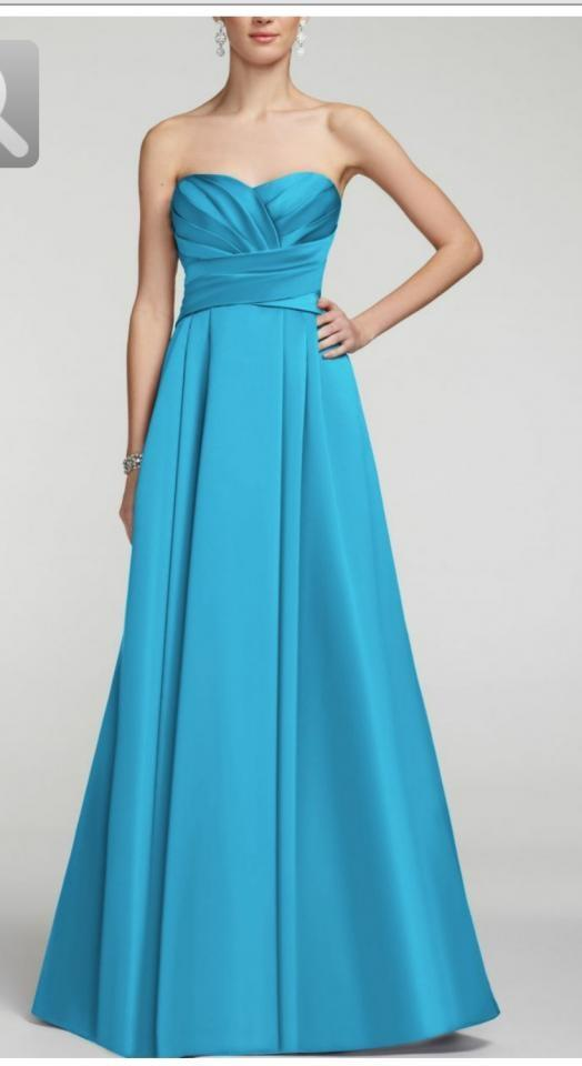 Malibu blue strapless satin pleated bodice ball gown f15554 dress