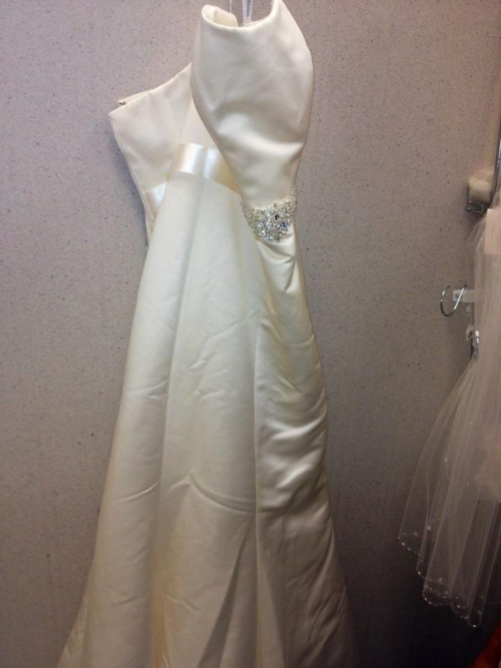 David 39 S Bridal Satin Strapless Trumpet Gown With Ribbon