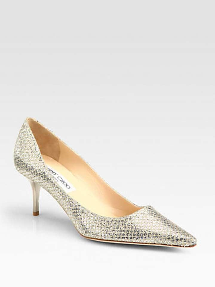Jimmy Choo Aurora Glitter Coated Leather Pumps Wedding Shoes Glitter Sparkle Jimmy Choo Wedding