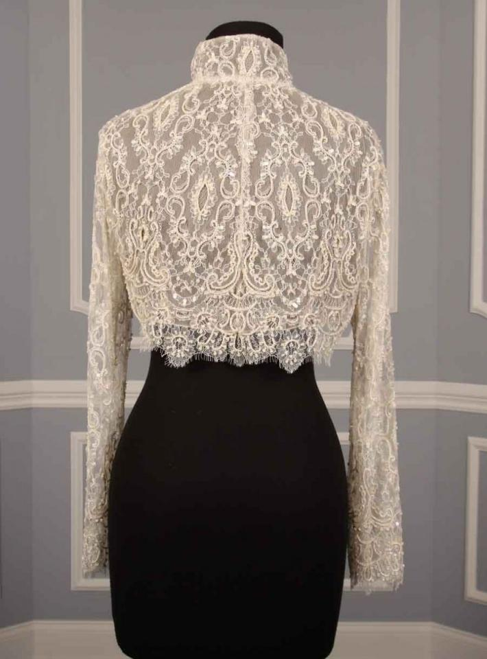 Justina mccaffrey couture beaded lace jacket bolero shrug for Wedding dress lace bolero