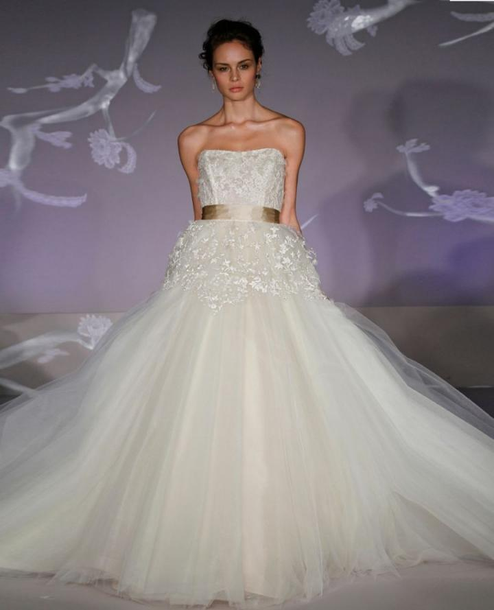 Lazaro Strapless Ball Gown In Chantilly Lace 32183147 Wedding Dress