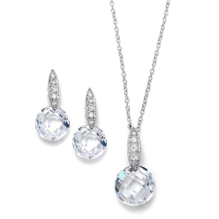 mariell mariell faceted drop wedding jewelry set