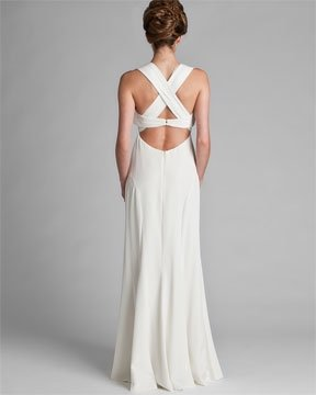Nicole miller antique white cross back gown wedding dress for Cross back wedding dress