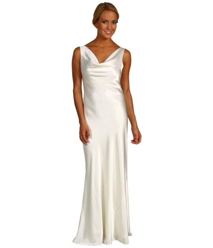Cowl Neck Back Wedding Dresses: A.b.s Allen Schwartz Ivory Satin Cowl Neck Gown Wedding Dress