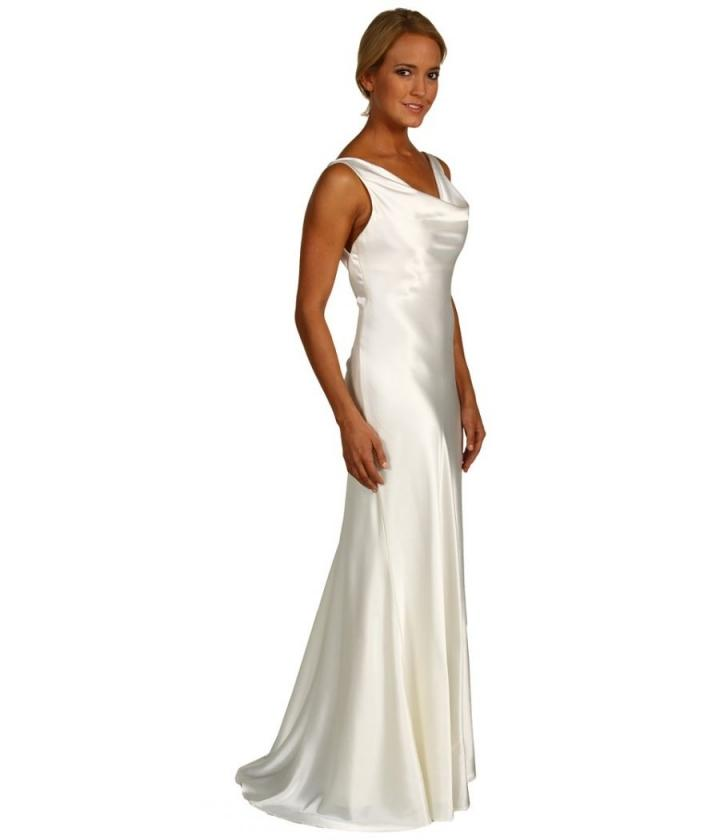 a b s allen schwartz ivory satin cowl neck gown wedding dress
