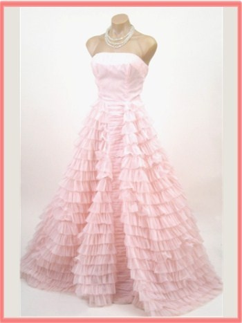 Vintage light pink ruffle tiered wedding gown wedding for Pink ruffle wedding dress