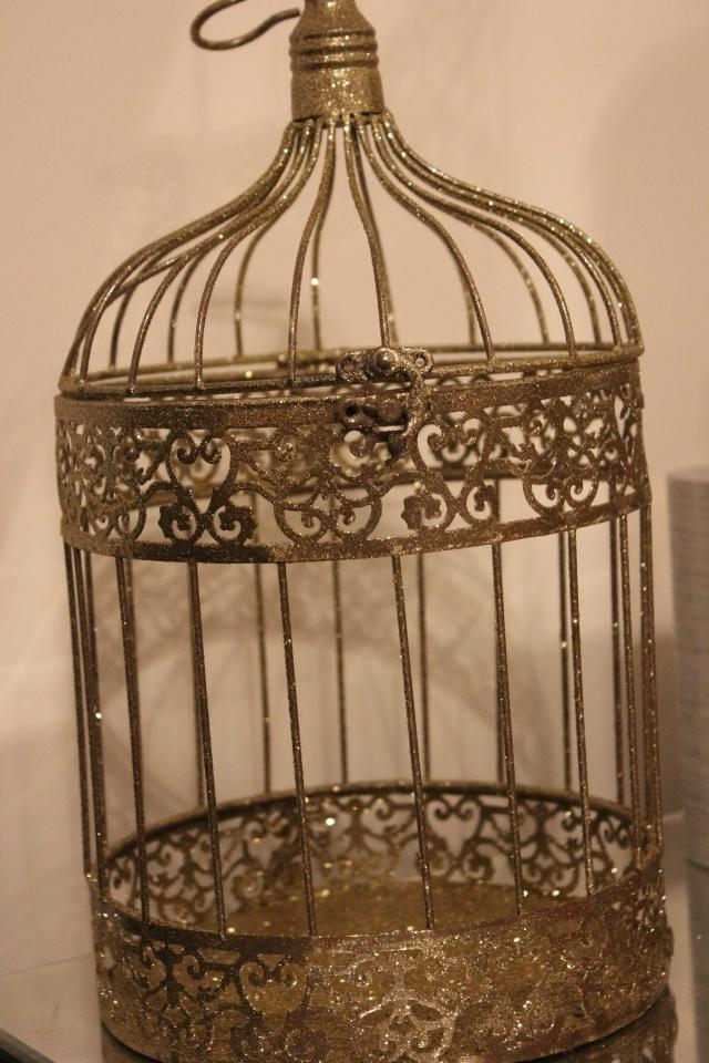 Ten gold birdcage bird cage candle holder glitter