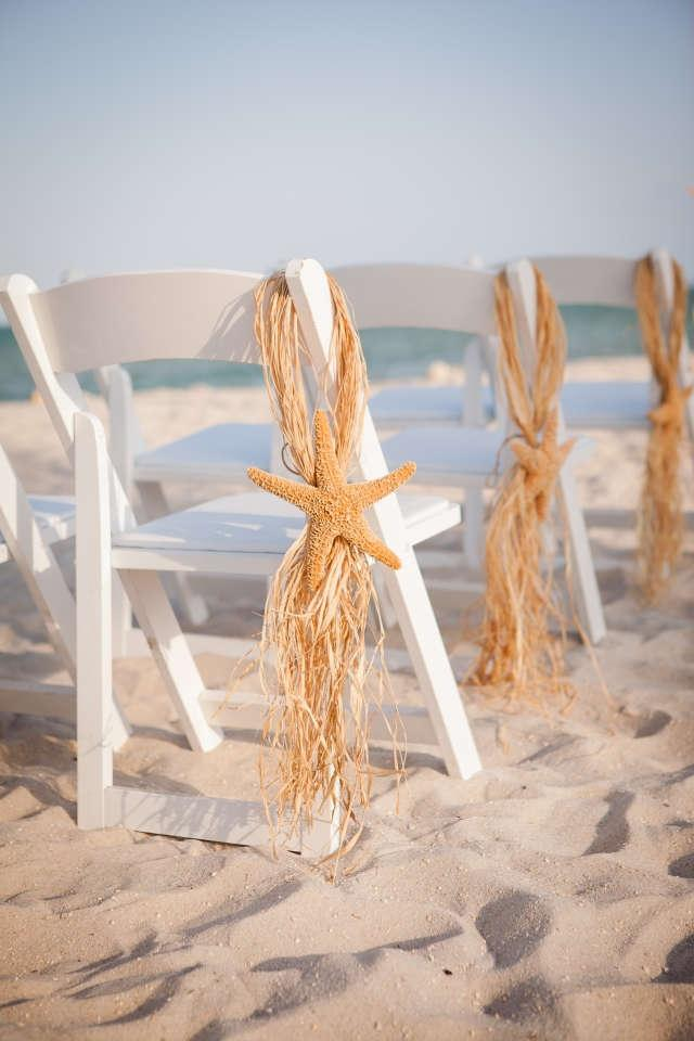 9 Starfish Raffia Wedding Chair Hangers