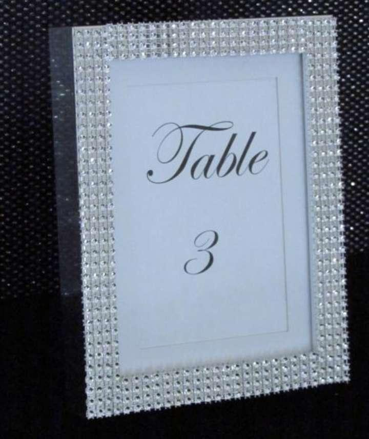 set of 10 bling frames silver photo table numbers diamond chalkboard