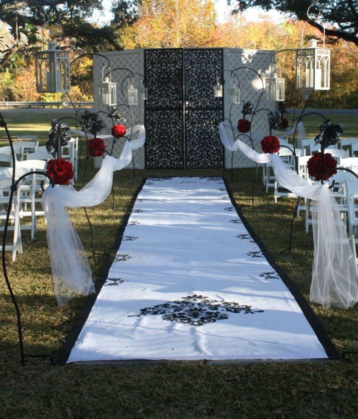 white aisle runner with hand painted damask edging tradesy weddings