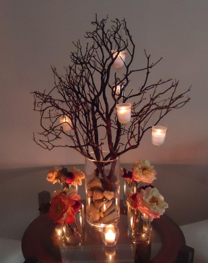Manzanita branch centerpieces enough for tabl