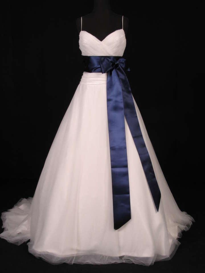 Your dream dress navy blue ribbon sash 4 x 4 1 2yds for Blue sash for wedding dress