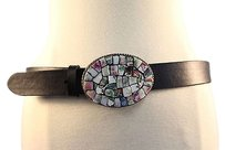 Ivanka Trump Ivan Womens Black Belt Leather Casual Mosiac Buckle