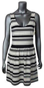 J.Crew short dress Black Off White Afternoon Tea Sleeveless Striped Comfortable Pleated Scoop Neck on Tradesy