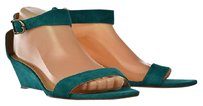 J.Crew Womens Wedges Ankle Strap Heels Suede Casual Green Platforms