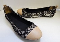 J.Crew Crew Nude Leather Black Lace Ballet Beige Flats