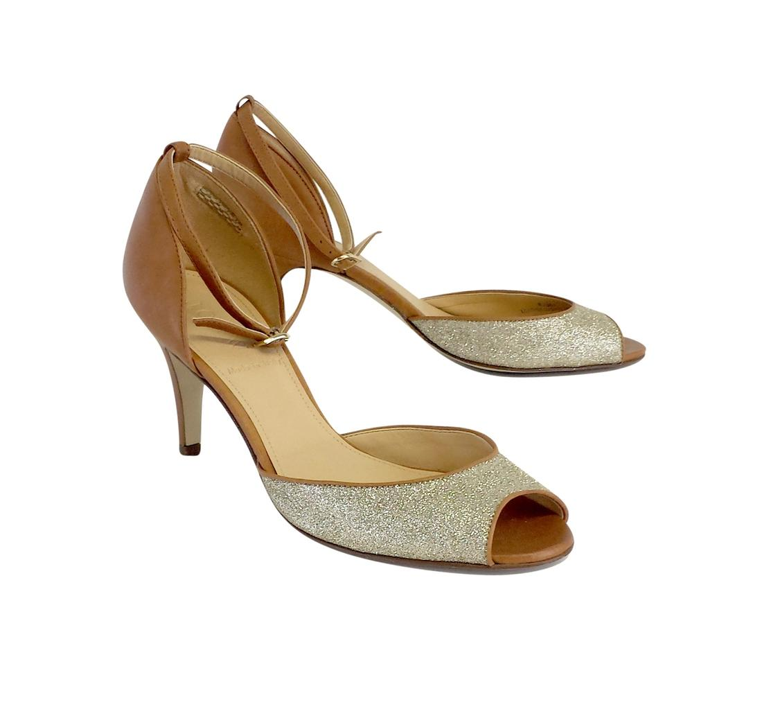 J.Crew Brown Glittery Peep Toe Heels Sandals Size B) US 7.5 Regular (M, B) Size fd7ee1