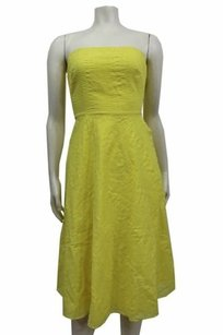 J.Crew short dress Yellow Textured Cotton Strapless on Tradesy