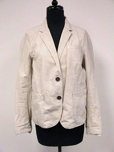 J.Crew J. Crew Cream Black Pinstripe Cotton Long Sleeve Lined Button Blazer Sz10 Q327