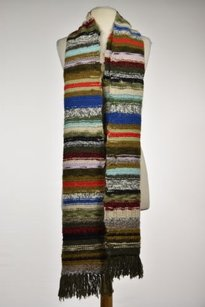 J.Crew J Crew Hand Knit Womens Brown Striped Scarf One Wool Casual