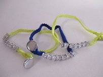 J.Crew J.crew Neon Ylw Nvy Woven Rope Crystal Toggle Friendship Bracelet Set