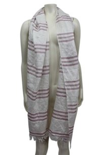 J.Crew J.crew White Silver Mauve Striped Fringe Hem Scarf Light Weight