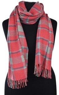 J.Crew J Crew Womens Pink Blue Gray Ivory Scarf Os Plaid Wool Casual Fringed