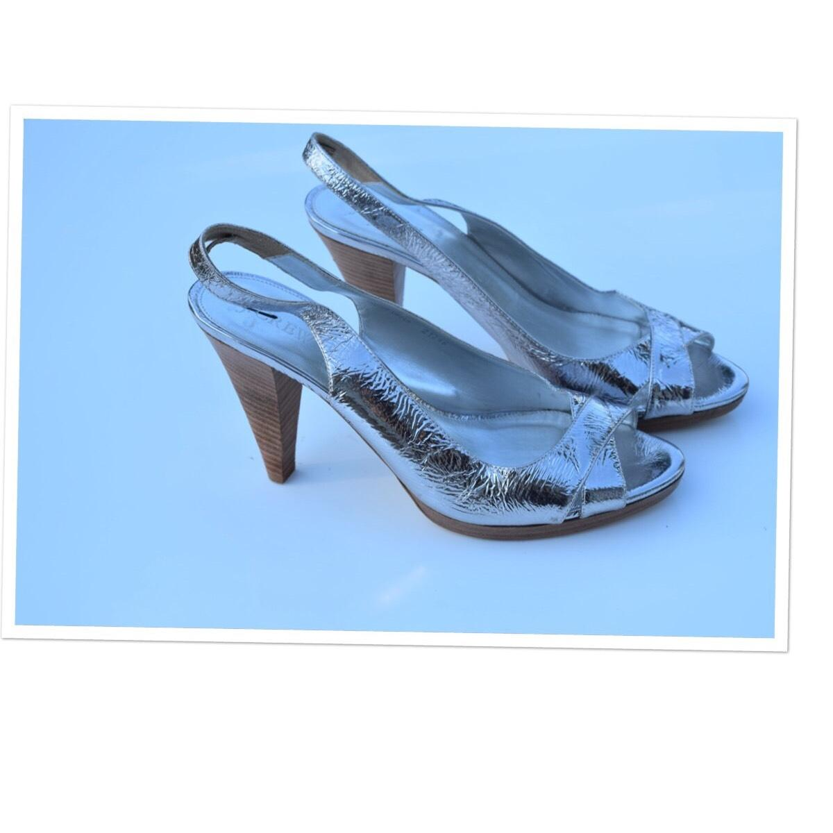 79a9a9bf191 J.Crew Mirrored Mirrored Mirrored Metallic Colette Sling Back Pumps Size US  10 Regular (M