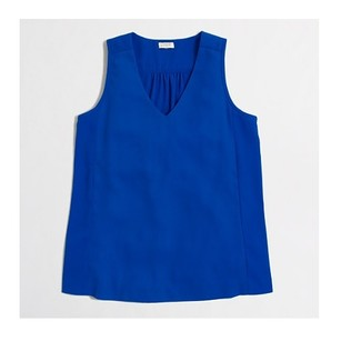 J.Crew Polyester Top BRIGHT BLUE V NECK SLEEVELESS B8936
