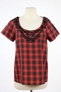 J.Crew J Crew Womens Black Top Black, Red