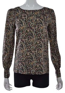 J.Crew Womens Ivory Blue Silk Printed Shirt Long Sleeve Top Multi-Color