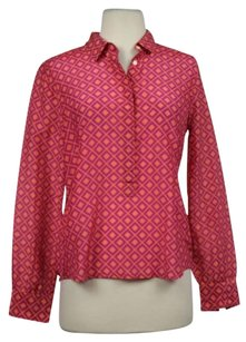 J.Crew Womens Printed Cotton Long Sleeve Casual Shirt Top Pink